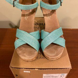 Toms Strappy Wedge -Turquoise Metallic Linen